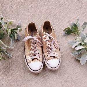Converse Rose Gold Metallic Low Top Sneakers